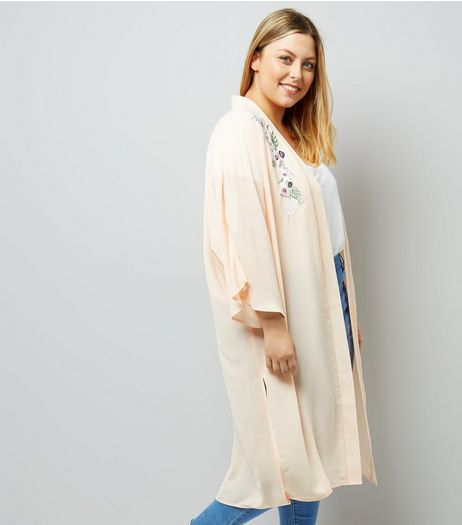 Curves Shell Pink Floral Embroidered Kimono | New Look