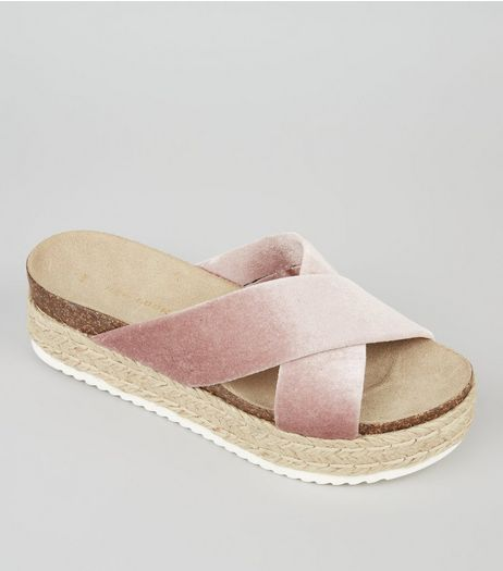 Pink Velvet Cross Strap Flatform Sandals | New Look