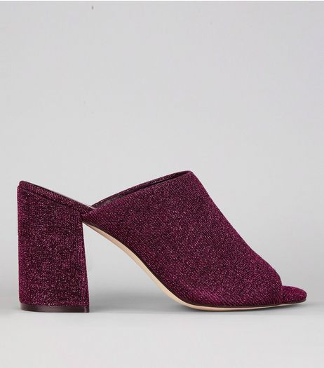 Deep Pink Glitter Heeled Mules | New Look
