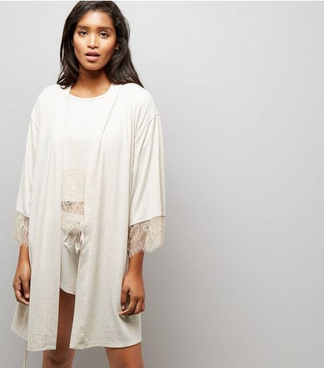 Cream Lace Trim Robe  | New Look