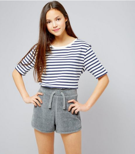 Teens Grey Towelling Shorts | New Look