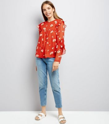 Red Floral Print Frill Sleeve Chiffon Top