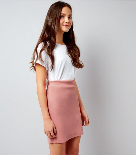 Teens Pink Ribbed Tube Skirt | New Look