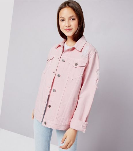 Teens Shell Pink Denim Jacket  | New Look