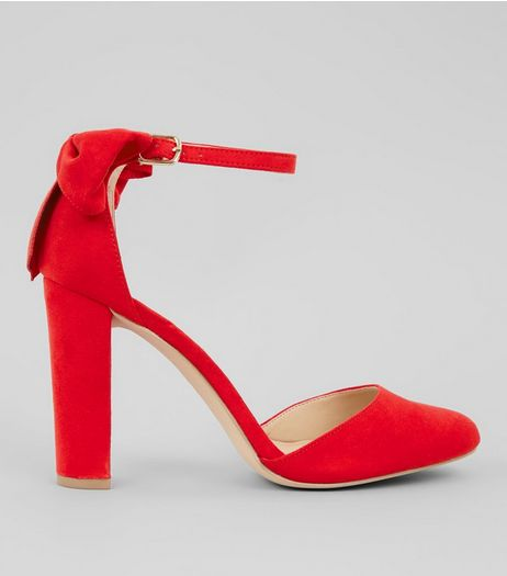Red Suedette Bow Back Heels | New Look