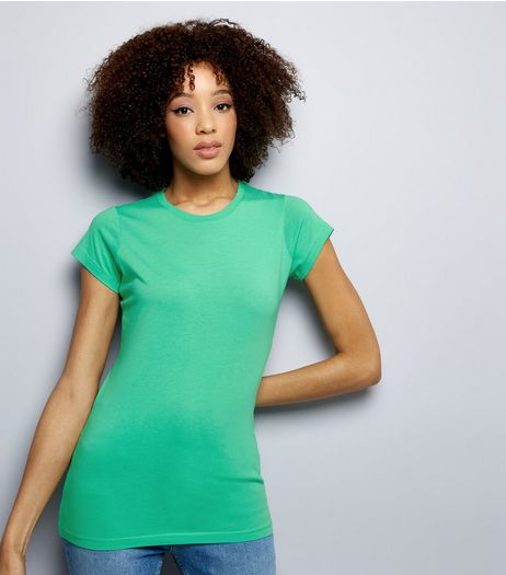 Green Cap Sleeve T-Shirt  | New Look