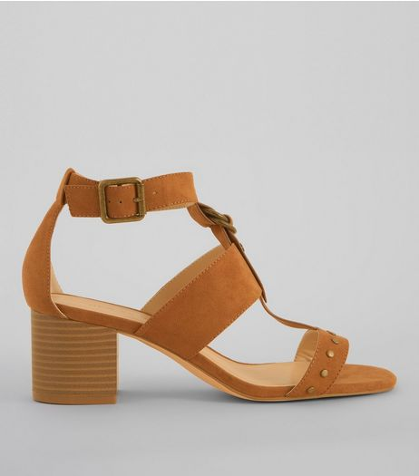 Tan Stud Block Heel Sandals | New Look