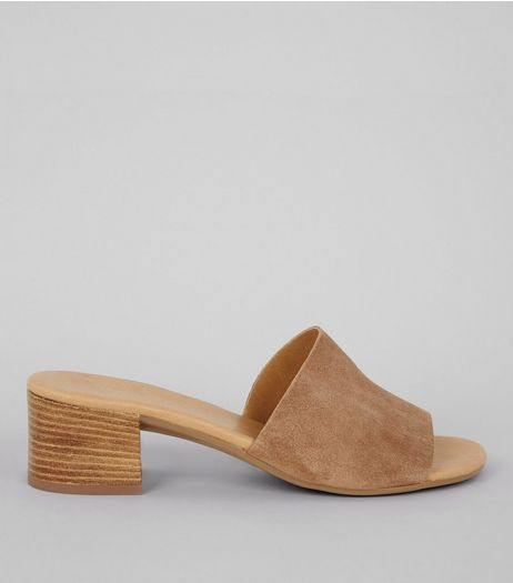Light Brown Suede Heeled Mules | New Look