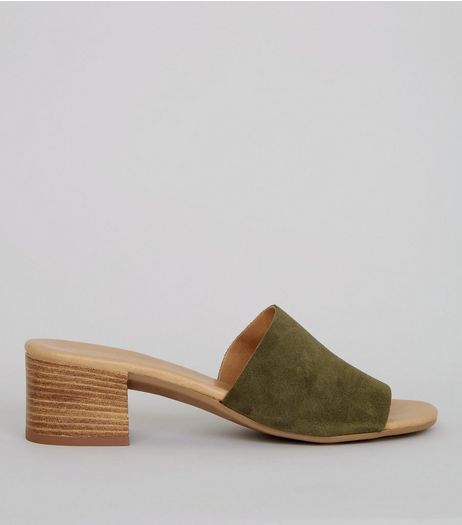 Khaki Suede Heeled Mules | New Look