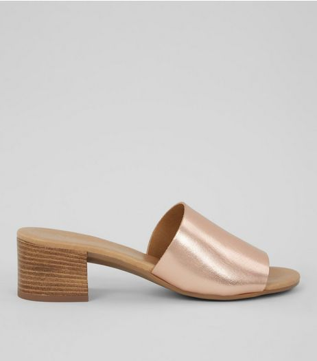 Rose Gold Leather Heeled Mules | New Look
