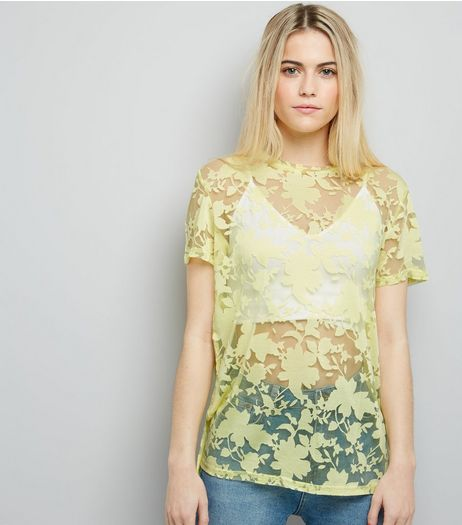 Yellow Floral Print Short Sleeve Top  | New Look
