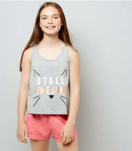 Teens Grey Totally Pawesome Pyjama Set  | New Look