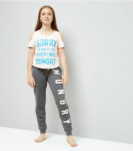 Teens Pink Hungry Slogan Pyjama Set | New Look