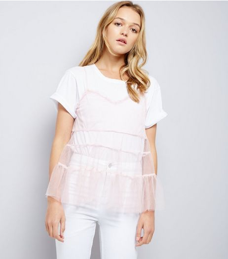 Shell Pink Tiered Tulle Cami Top | New Look
