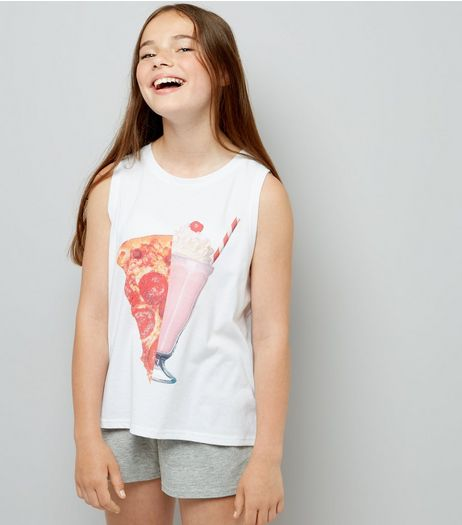 Teens White Pizza Is Bae Pyjama Set  | New Look