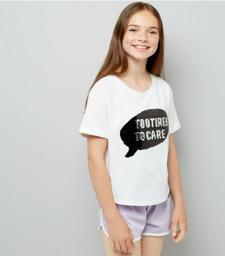 Teens White Too Tired Sequin Pyjama Set | New Look