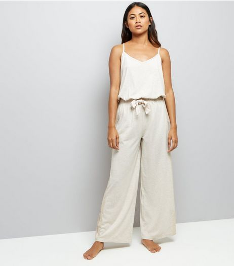 Petite Cream Jersey Lounge Jumpsuit | New Look