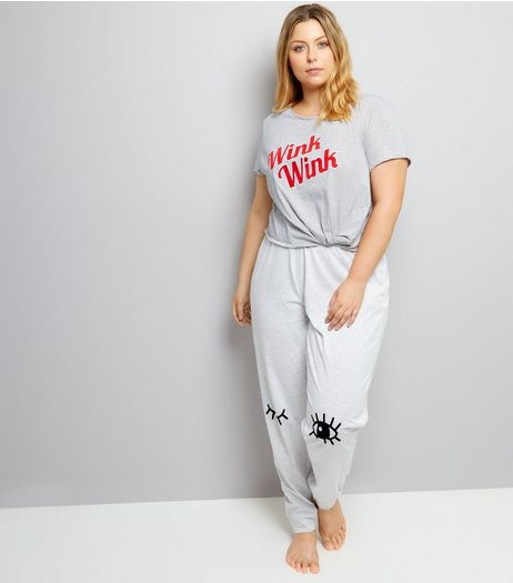 Curves Grey Stripe Wink Wink Twist Front Pyjama Set | New Look
