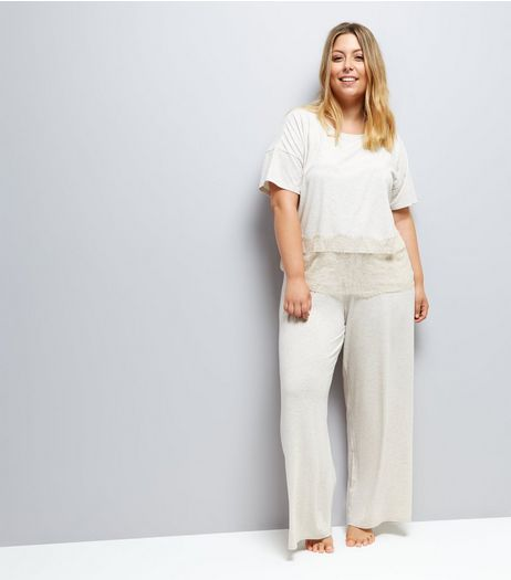 Curves Cream Jersey Pyjama Joggers  | New Look