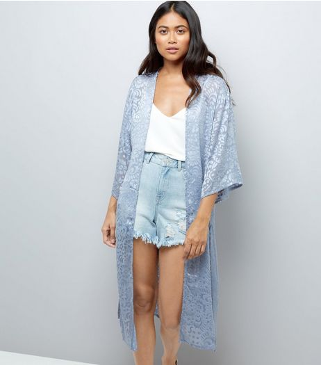 Petite Grey Floral Burnout Maxi Kimono | New Look