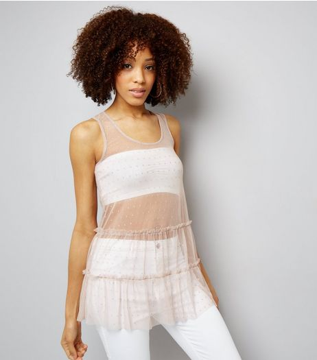 Shell Pink Mesh Spot Print Frill Trim Vest  | New Look