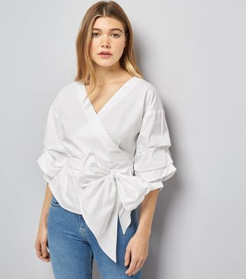 White Frill Trim Sleeve Wrap Front Top