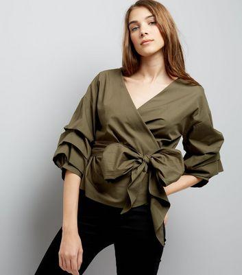 Khaki Frill Trim Sleeve Wrap Front Top