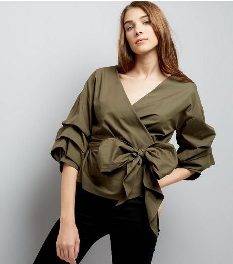 Khaki Frill Trim Sleeve Wrap Front Top | New Look