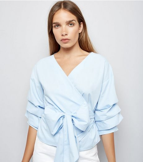 Blue Ruched Sleeve Wrap Front Top | New Look