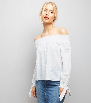 White Tie Sleeve Bardot Neck Top