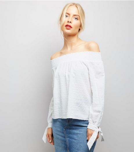 White Tie Sleeve Bardot Neck Top  | New Look
