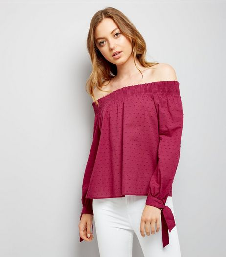 Deep Pink Tie Sleeve Bardot Neck Top  | New Look
