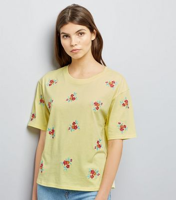 Yellow Floral Embroidered T-Shirt