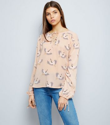 Pink Bird Print Tie Front Top