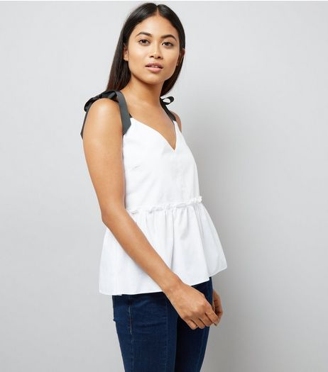 Petite White Contrast Tie Strap Peplum Top | New Look