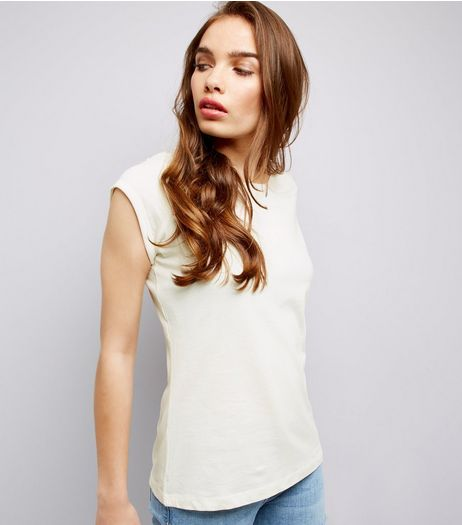 Cream Roll Sleeve T-Shirt  | New Look