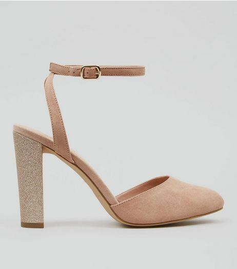Wide Fit Nude Pink Suedette Glitter Block Heels | New Look