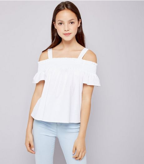 Teens White Shirred Cold Shoulder Top | New Look