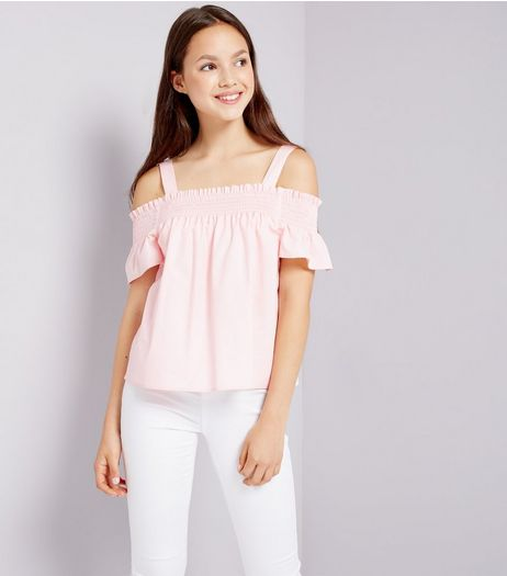 Teens Pink Shirred Cold Shoulder Top | New Look