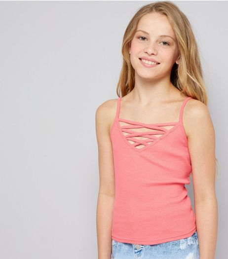 Teens Pink Ribbed Lattice Front Cami | New Look