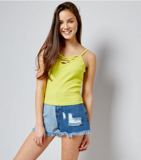 Teens Yellow Ribbed Lattice Front Cami | New Look