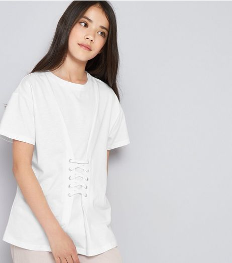 Teens White Eyelet Lace Up Oversized T-Shirt | New Look