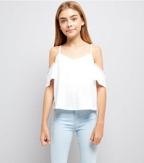 Teens White Pearl Embellished Cold Shoulder Top | New Look