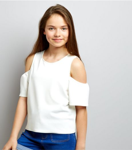 Teens White Crepe Flutter Sleeve Cold Shoulder Top | New Look