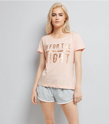 Pink In For The Night Slogan Pyjama Set  | New Look