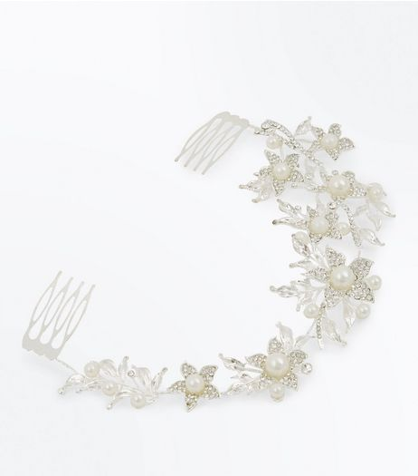 Silver Crystal Pearl Embellished Floral Hair Slide | New Look