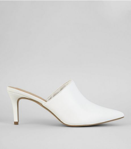 White Pointed Heeled Mules | New Look