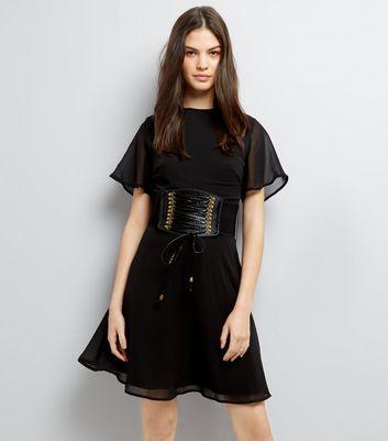 Black Corset Belt Dress