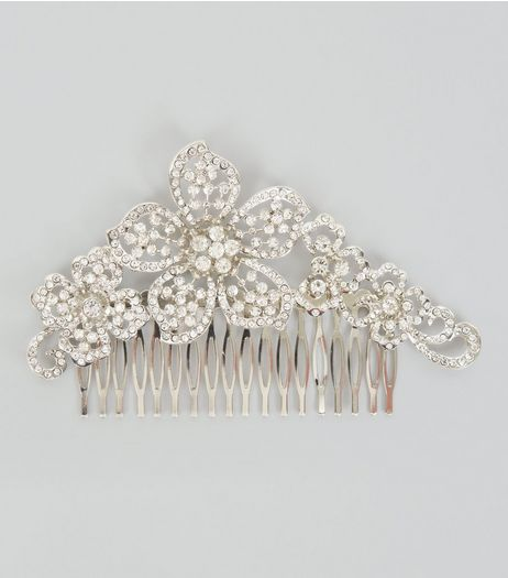 Flower Diamante Hair Comb | New Look