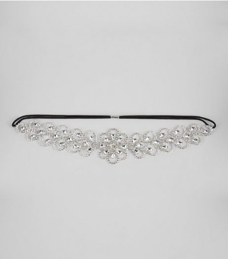 Silver Floral Diamante Headband | New Look